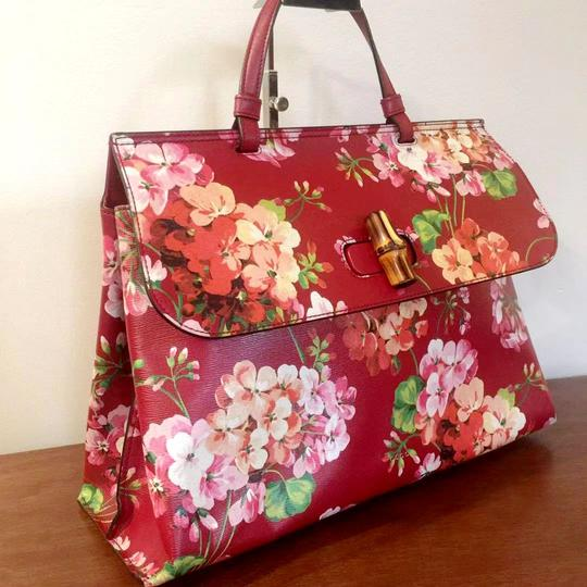 Gucci Bamboo Blooms Print Leather Top Handle Tote in Red Image 3