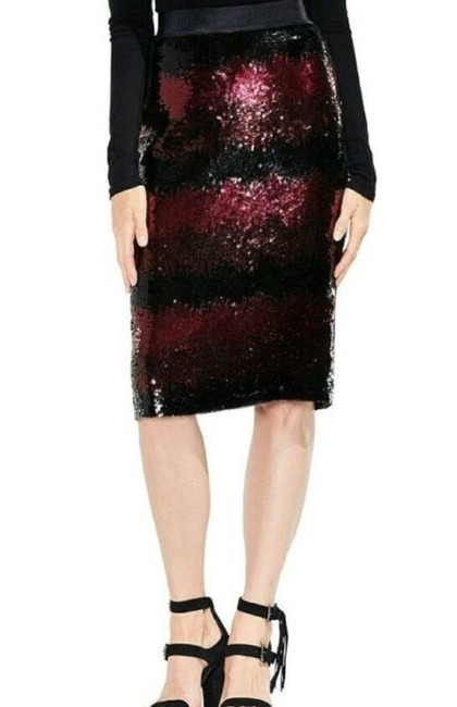 Vince Camuto Sequin [encil Burgundy Skirt Red and Black Image 2