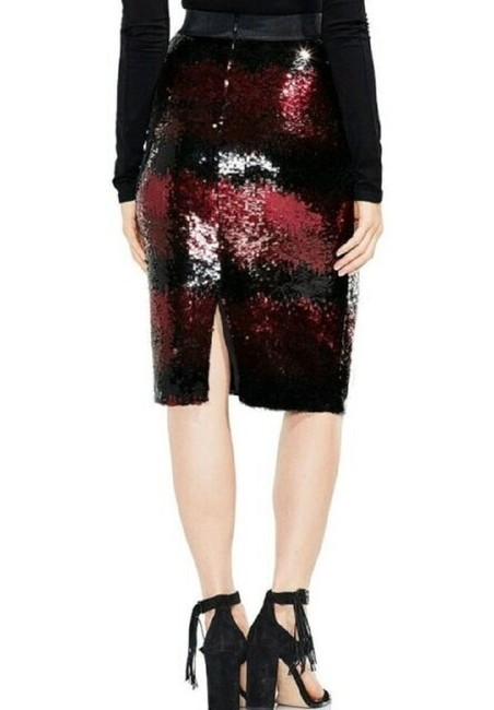 Vince Camuto Sequin [encil Burgundy Skirt Red and Black Image 3