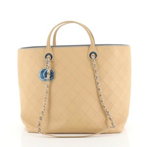 Chanel Sopping Leather Tote in Neutral