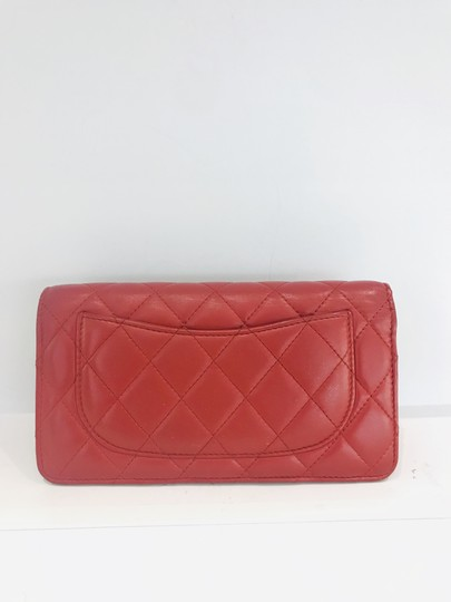 Chanel Lamb leather Quilted Yen Wallet Red Image 1
