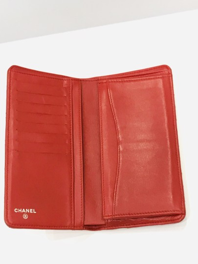 Chanel Lamb leather Quilted Yen Wallet Red Image 2