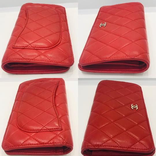 Chanel Lamb leather Quilted Yen Wallet Red Image 5