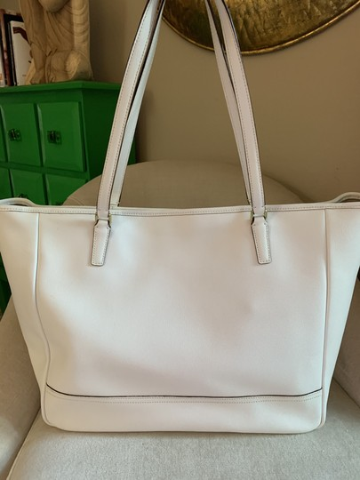 Coach City Extra Large Saffiano Leather Tote in Off White Image 1