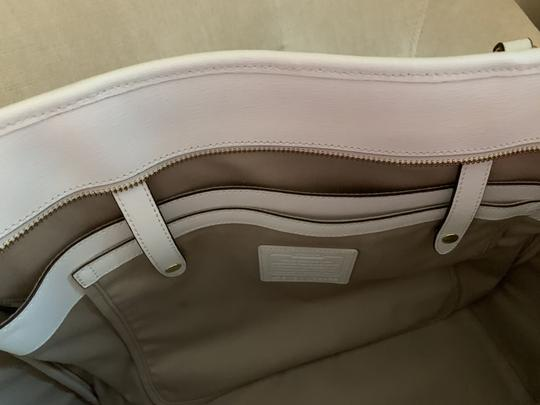 Coach City Extra Large Saffiano Leather Tote in Off White Image 9