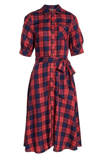 Red Navy Blue Maxi Dress by 1901 Shirt Belted Image 4