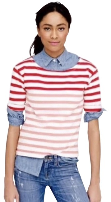 Item - Red White XS Lightweight Terry Tee In Stripe. Xs. Color: Flame Fuava. Sweatshirt/Hoodie Size 2 (XS)