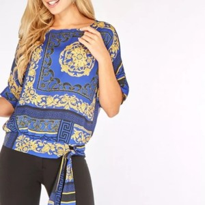Dorothy Perkins Top Blue and Gold