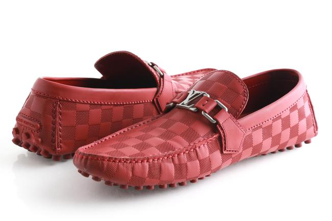 Louis Vuitton Red Damier Hockenheim Car Loafer Shoes Louis Vuitton Red Damier Hockenheim Car Loafer Shoes Image 1