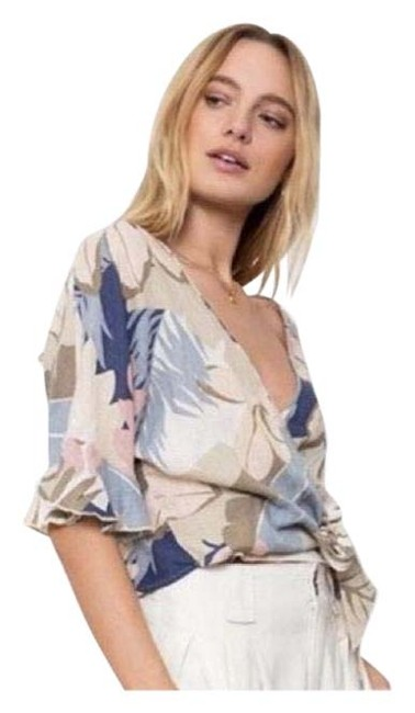 Item - Tan Blue Cream Athena Wrap In Costa Print Blouse Size 4 (S)