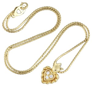 Dior Christian Dior 18k Yellow Gold Diamonds Heart Crown Pendant Necklace.