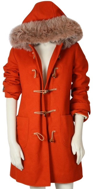 Item - Orange Wool Shearling Hooded Parka Coat Size 2 (XS)