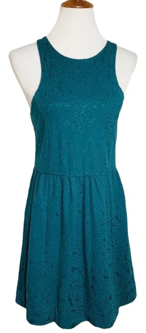Item - Green Embossed Teal Jacquard Mid-length Work/Office Dress Size 10 (M)