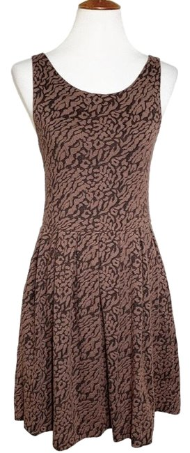 Item - Brown Black Quilted Cheetah Pocket Mid-length Work/Office Dress Size 6 (S)