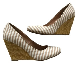 Mix No 9 Nude Striped Comfortable Classic Casual White & Tan Wedges