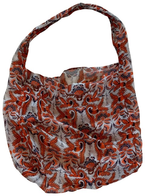 Item - Floral Lightweight Linen/Cotton Red Orange Cream Cotton Blend Hobo Bag
