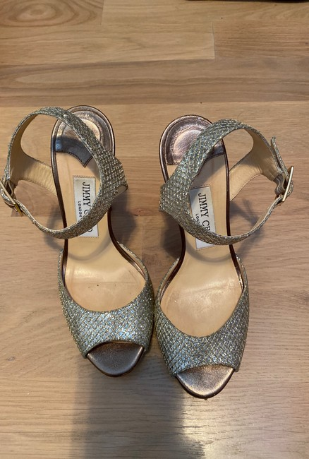 Item - Silver/ Gold Glitter Metallic Champagne Heel Platforms Size US 7 Regular (M, B)