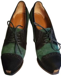 Carlo Pazolini Suede Leather Lace-up Platform Black / Dark Green Wedges