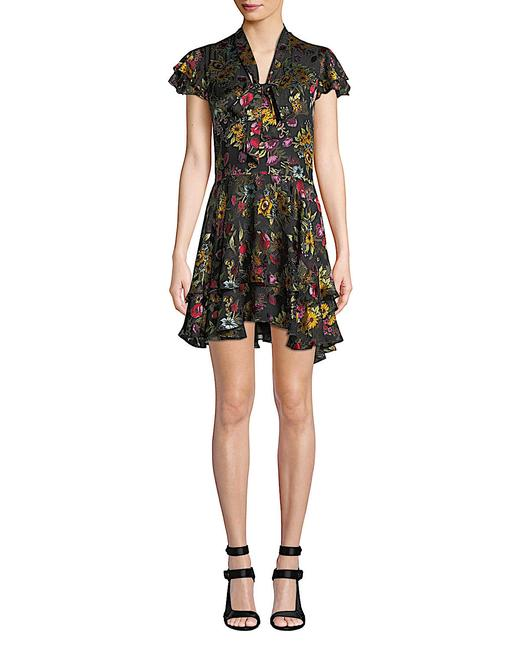 Item - Multi with Tag Viscose/Silk Moore Tie V-neck Cap-sleeve Layered Floral-print Velvet Mid-length Cocktail Dress Size 6 (S)