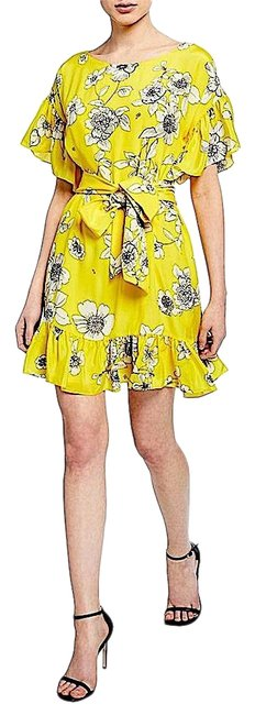 Item - Yellow with Tag Ellamae Ruffle Sleeve Cocktail Mid-length Night Out Dress Size Petite 4 (S)