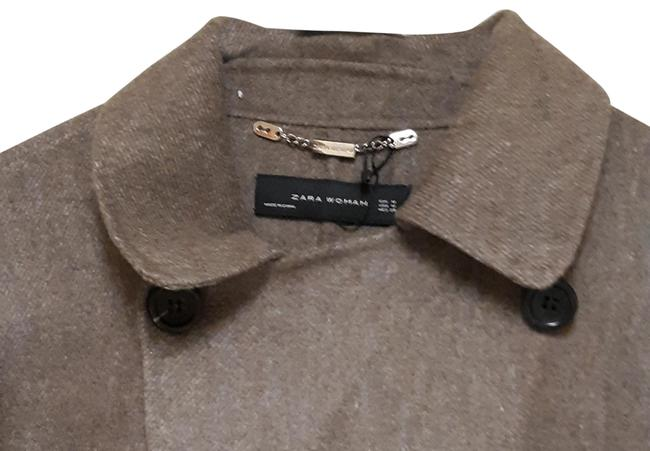 Item - Brown/Beige Wool Handmade Double Breasted Coat Size 8 (M)