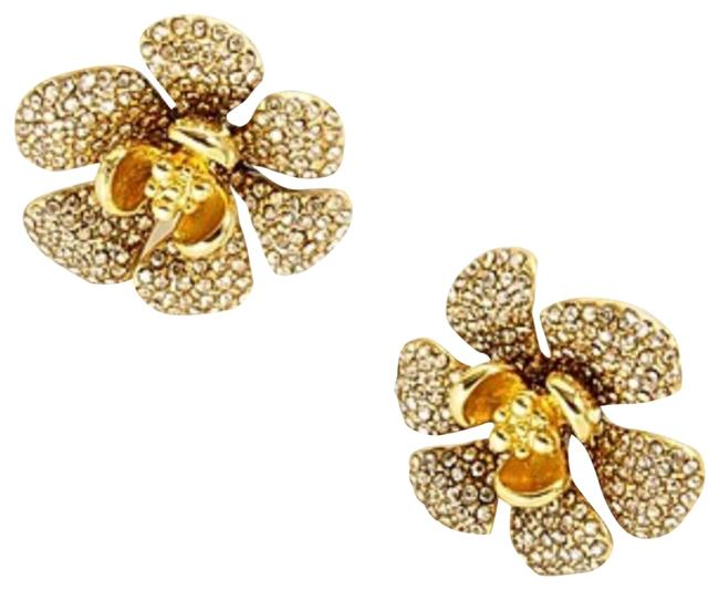Item - Gold Icicle Crystal Pave Flowers Earrings