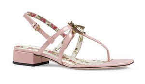 Gucci Bee Patent Rosa Pink Sandals