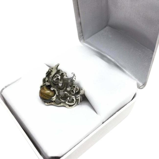 Unbranded Silver Modern Brutalist Sterling Tigers Eye Angel Ring Unbranded Silver Modern Brutalist Sterling Tigers Eye Angel Ring Image 1