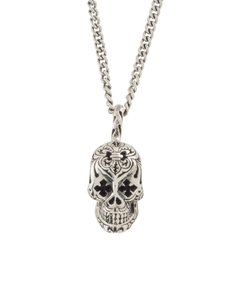King Baby Small Day of the Dead Skull Pendant w/MB Cross Eyes