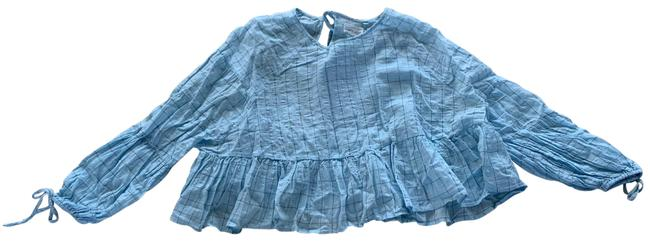 Item - Blue Longsleeve with Ties Small Blouse Size 4 (S)