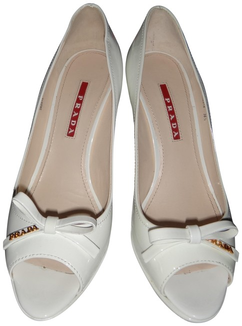 Item - White Patent Leather Sandals with Bow and Logo Wedges Size EU 36.5 (Approx. US 6.5) Regular (M, B)