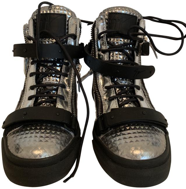 Item - Silver & Black Box And Leather London Sneakers New In Boots/Booties Size EU 37 (Approx. US 7) Regular (M, B)