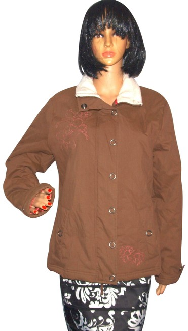 Item - Brown Blue Damsel By Floral Embroidered Winter Coat Size 14 (L)