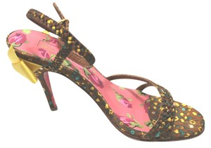 Betsey Johnson Braided Print Strap 6 MULTICOLOR Sandals