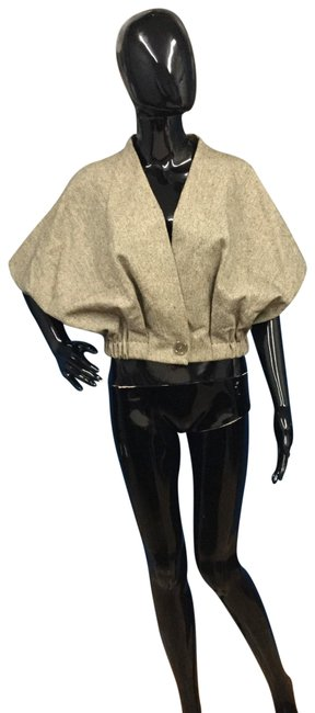 Item - Cream/Black Cropped Tweed One Button Poncho/Cape Size 6 (S)