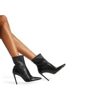 Jimmy Choo Pointed Toe Gloove Fit Sock Style Stretch Black Boots