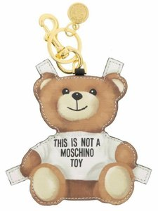 Moschino MOSCHINO This Is Not A Moschino Toy Leather Teddy Bear Keychain