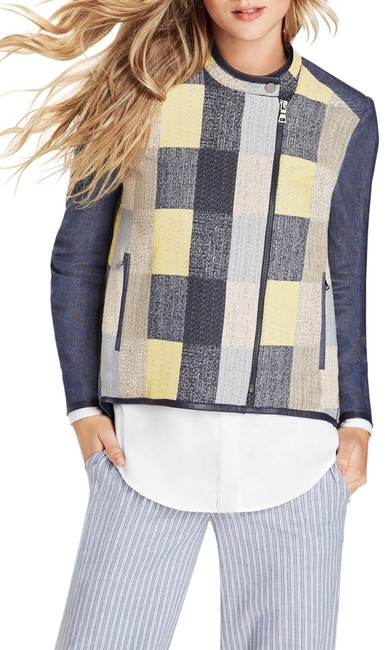 Item - Blue Jakob Patchwork Plaid Cotton Twill Xxs Bnwt Jacket Size 00 (XXS)