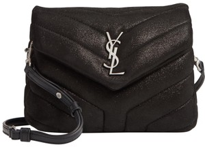 Saint Laurent Loulou Glitter Suede Cross Body Bag