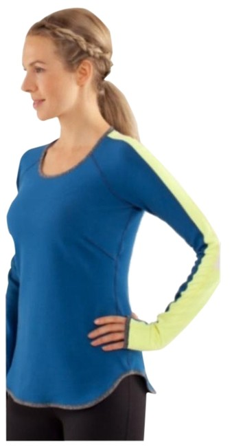 Item - Blue Grey Reversible Runder Under Fitted Supersoft Running Luon Moisture Wicking Activewear Top Size 4 (S)