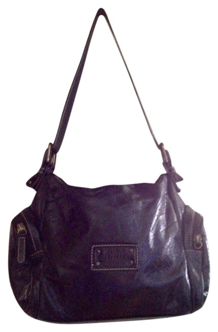 Item - Distressed Made In Italy Black Leather Shoulder Bag