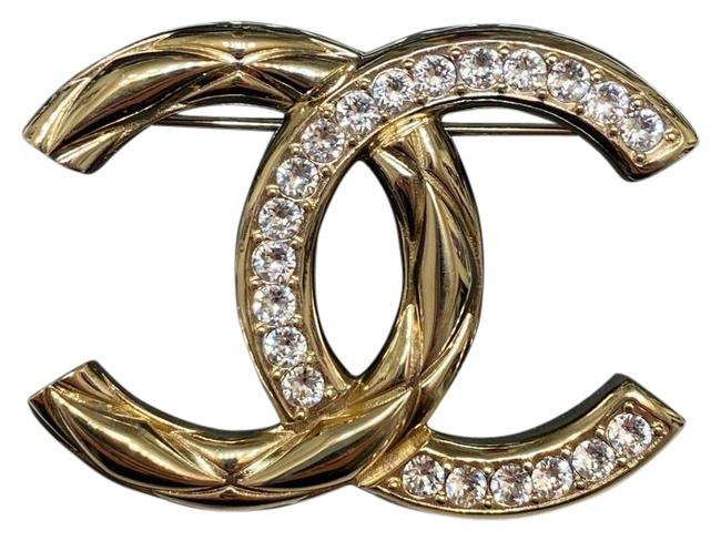 Item - Gold Cc Crystal Brooch