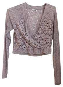 Free People Lace Crop V-neck Longsleeve Cardigan