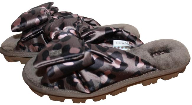 Item - Gray Black Lushette Satin Leopard Shearling Slippers Sandals Size US 6 Regular (M, B)