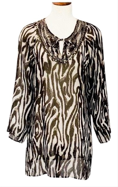 Item - Brown Silk Animal Print Tunic Size 12 (L)