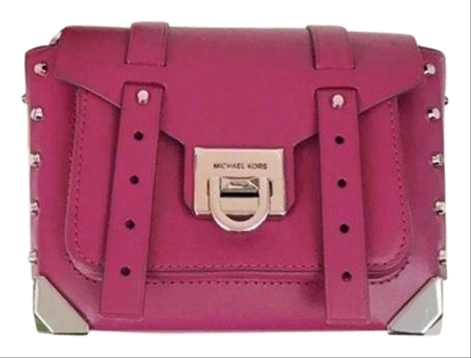 Michael Kors Manhattan Crossbody ✨✨brand New Deep Fuchsia Leather Messenger Bag 80% off retail