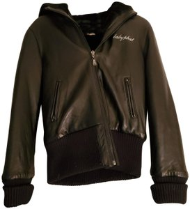 Baby Phat Hooded Faux Fur Reversible Leather Jacket
