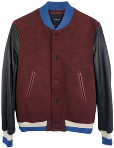 undercover Bomber Varsity red / black Leather Jacket