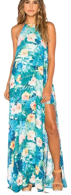 Item - Blue and Green Bronte In North Shore Long Casual Maxi Dress Size 6 (S)
