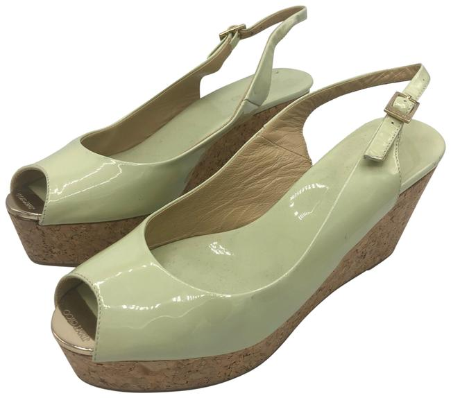 Item - Green Patent Sling Back Wedges Size US 10 Regular (M, B)